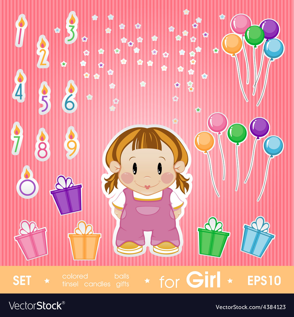 Festive set for girl set for birthday candles vector | Price: 1 Credit (USD $1)