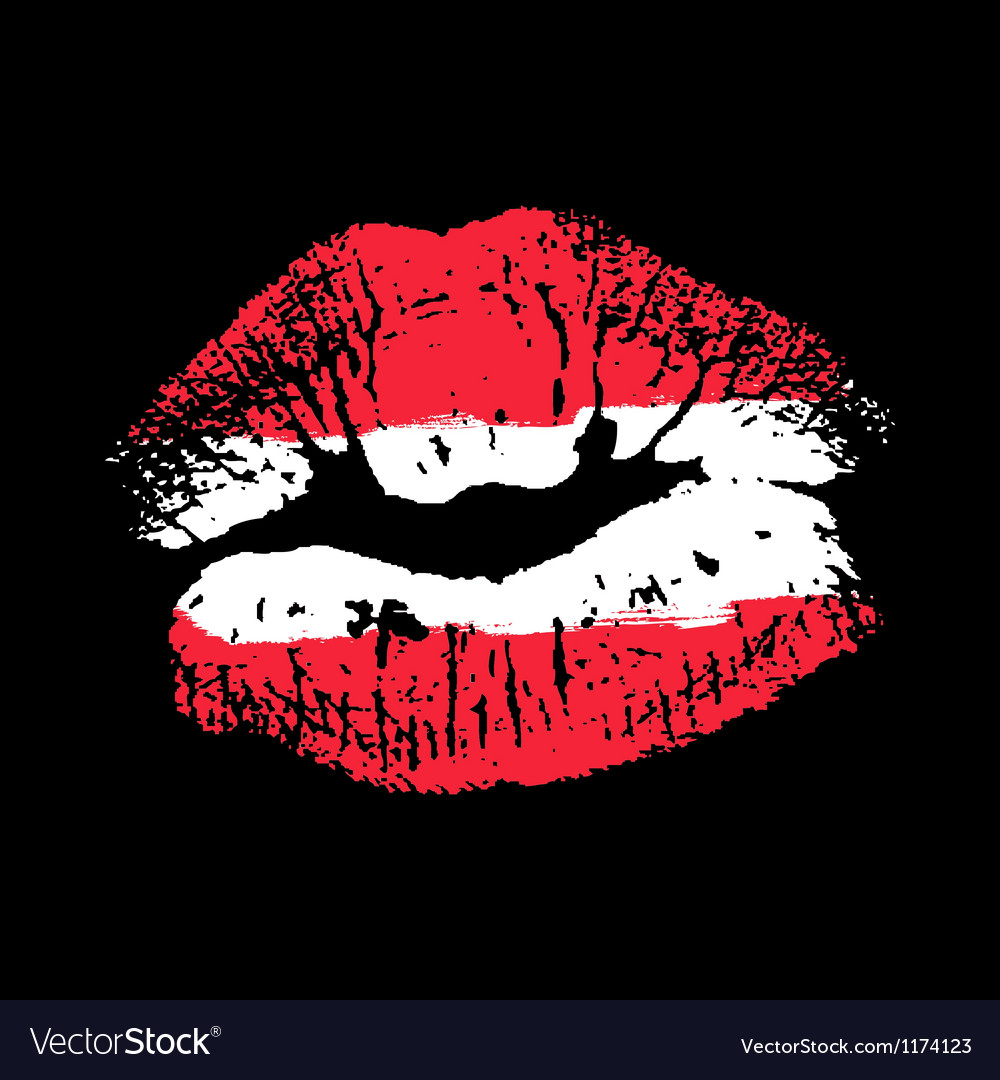 Flag lipstick on grunge lips vector | Price: 1 Credit (USD $1)