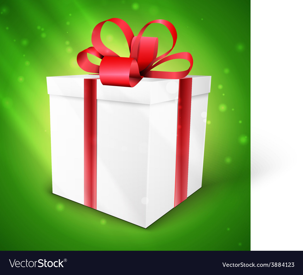 Gift box with bow isolated on green vector | Price: 1 Credit (USD $1)