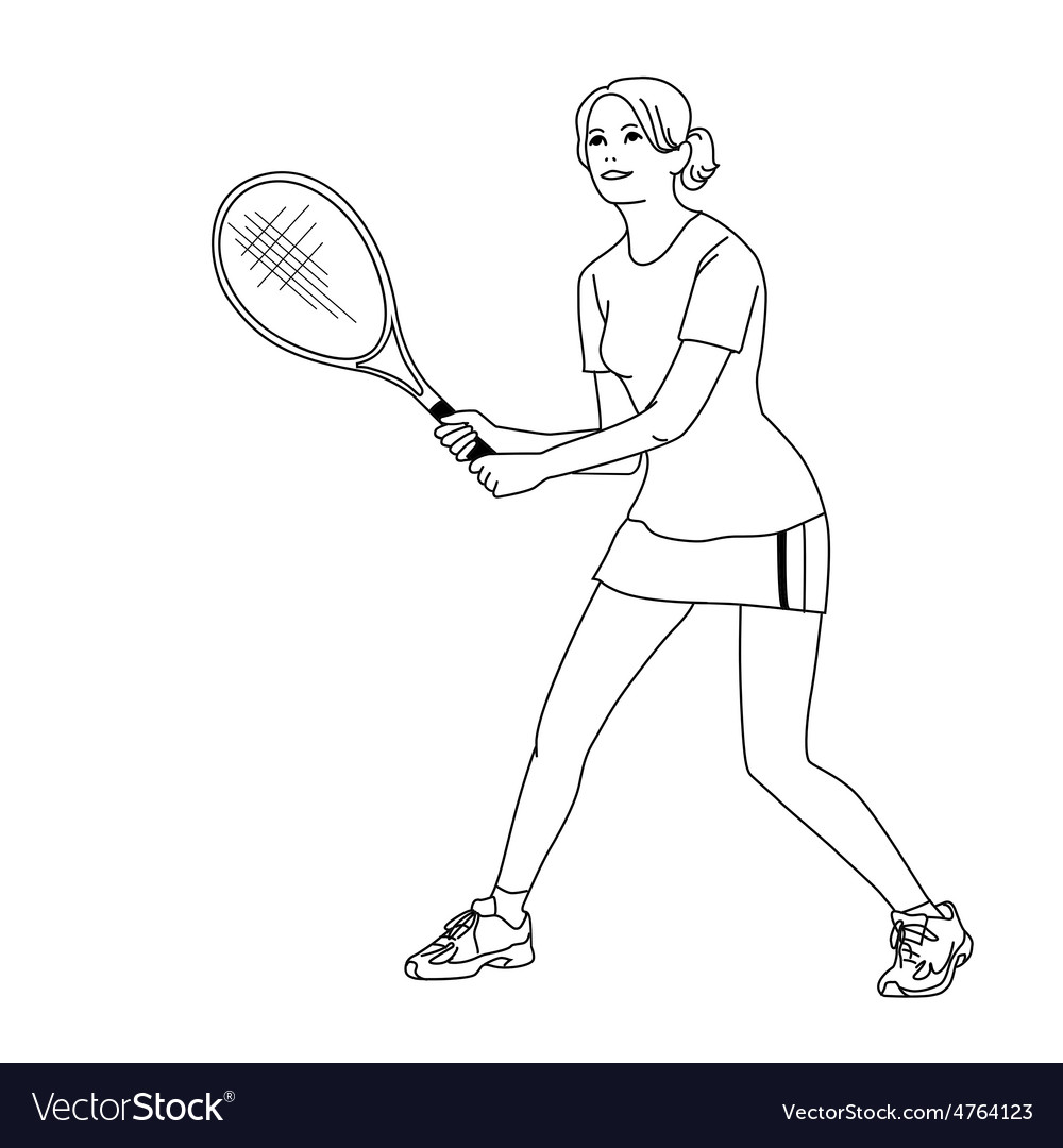 Girl playing tennis vector | Price: 1 Credit (USD $1)