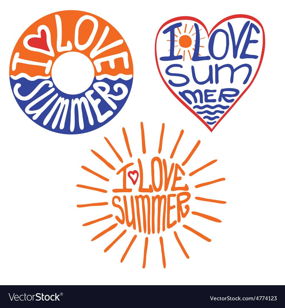 Lifebuoyheartsun in words i love summer vector | Price: 1 Credit (USD $1)