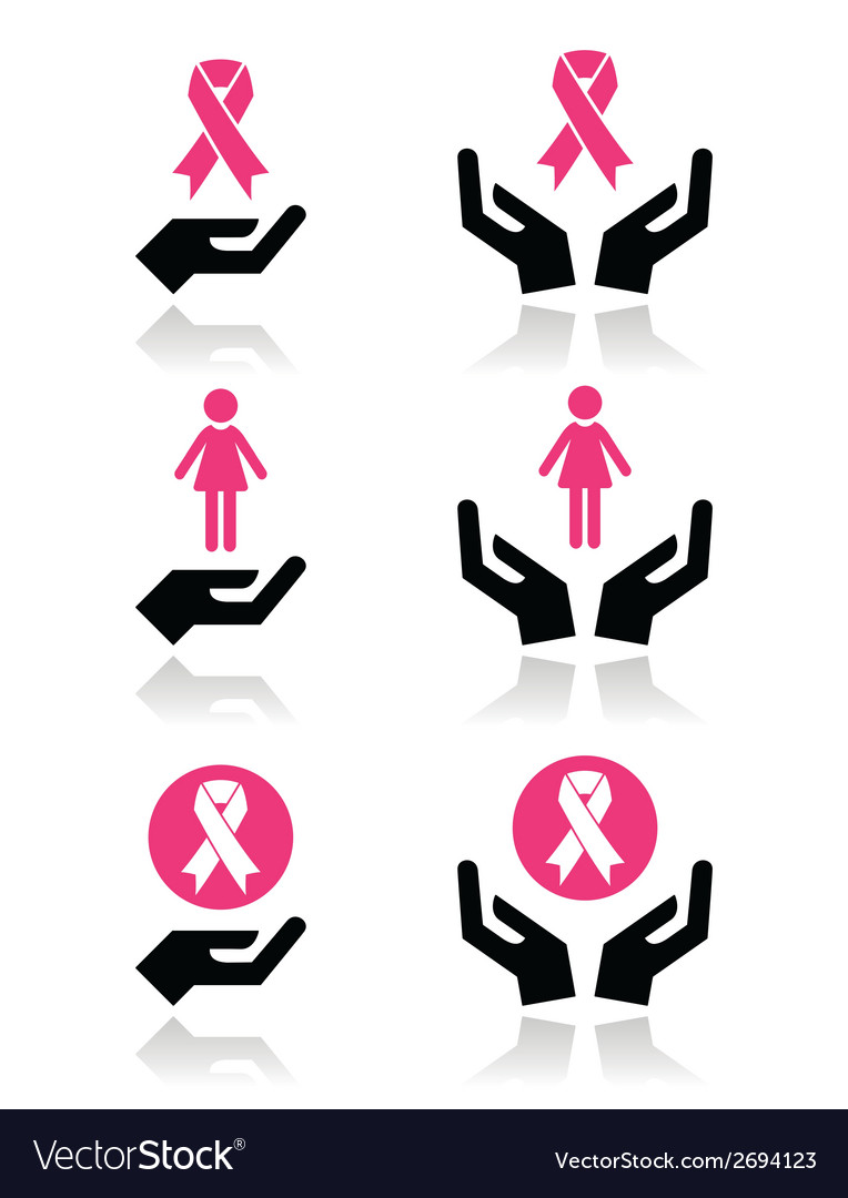 Pink ribbons - breast cancer awareness with hands vector | Price: 1 Credit (USD $1)
