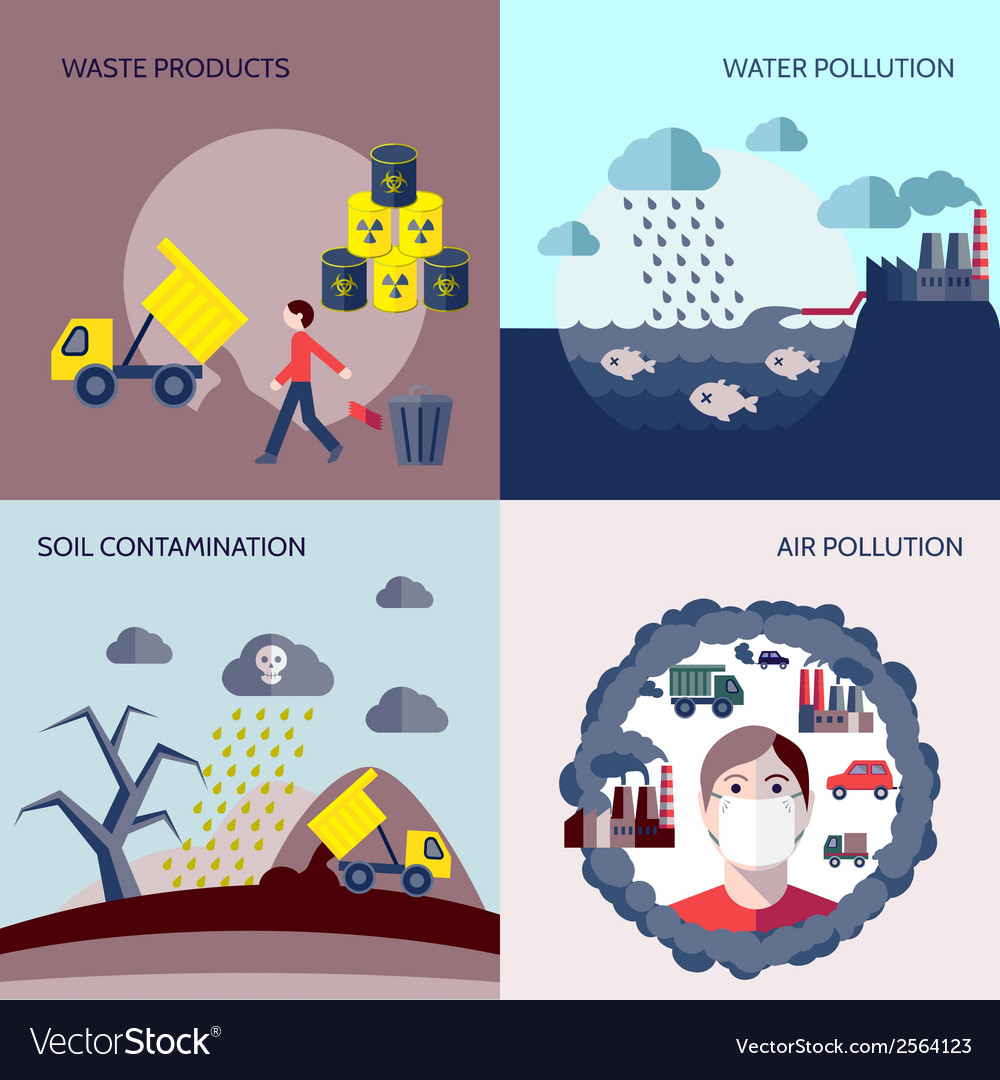 Pollution icons flat set vector | Price: 3 Credit (USD $3)