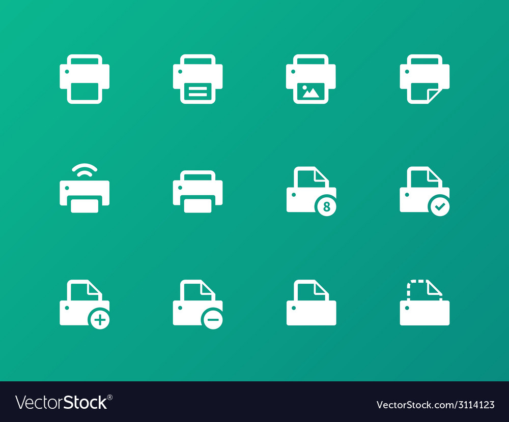 Printer icons on green background vector | Price: 1 Credit (USD $1)