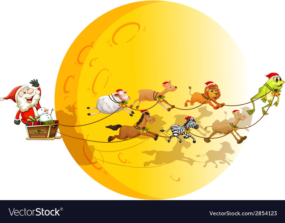 Santa and animals vector | Price: 3 Credit (USD $3)