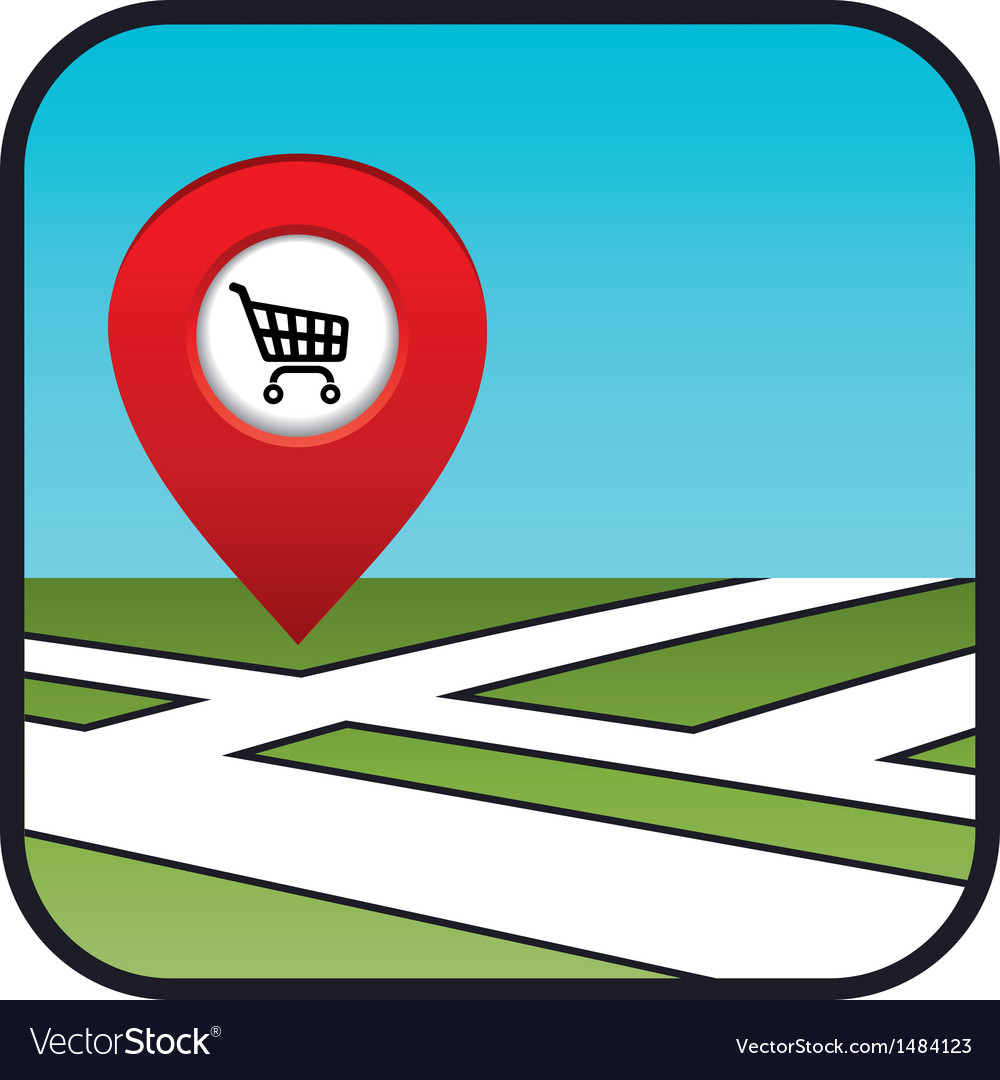 Street map icon with the pointer supermarket vector | Price: 1 Credit (USD $1)