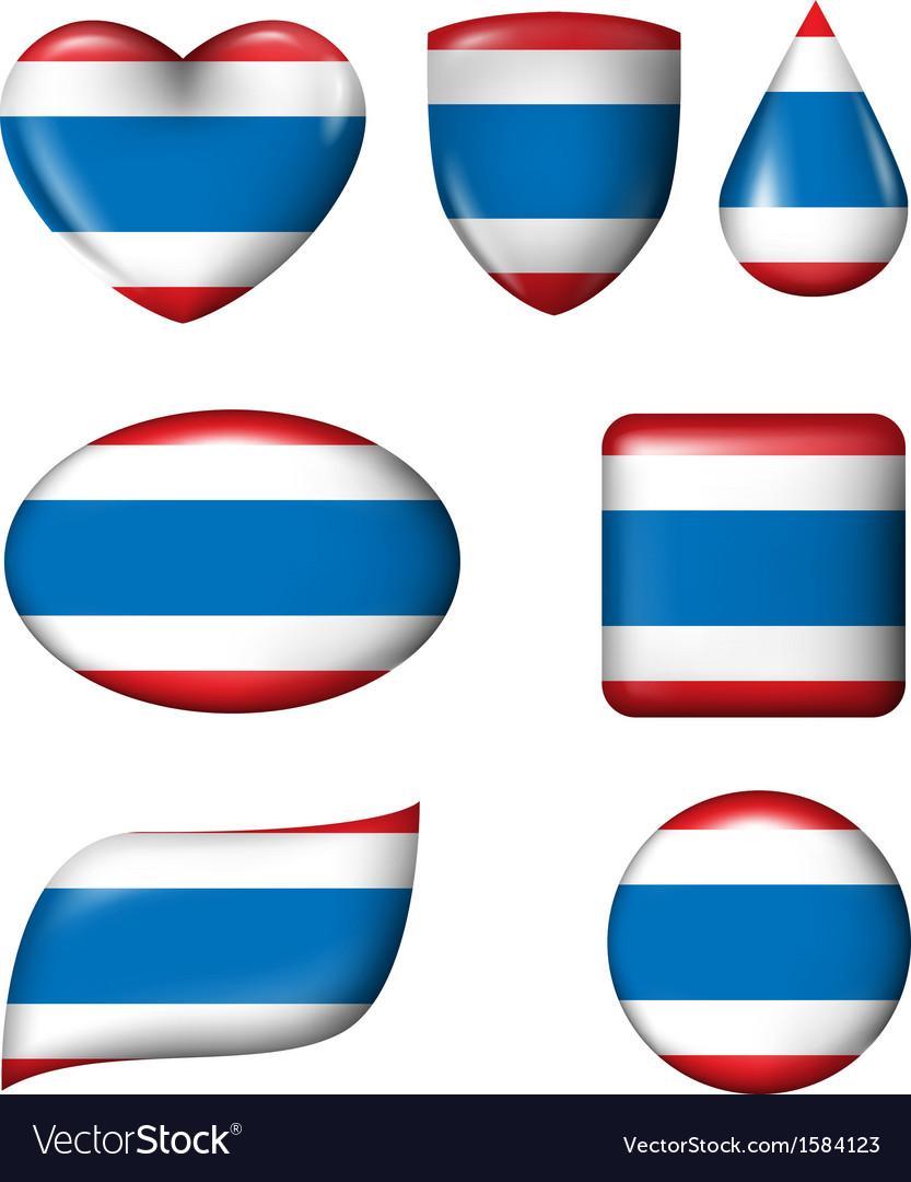 Thailand flag in various shape glossy button vector   Price: 1 Credit (USD $1)