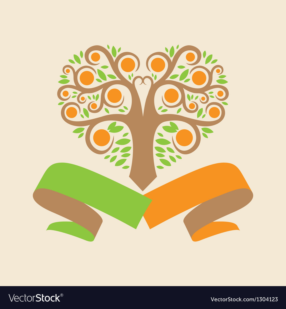 Wedding logo with an orange tree in the form of vector | Price: 1 Credit (USD $1)