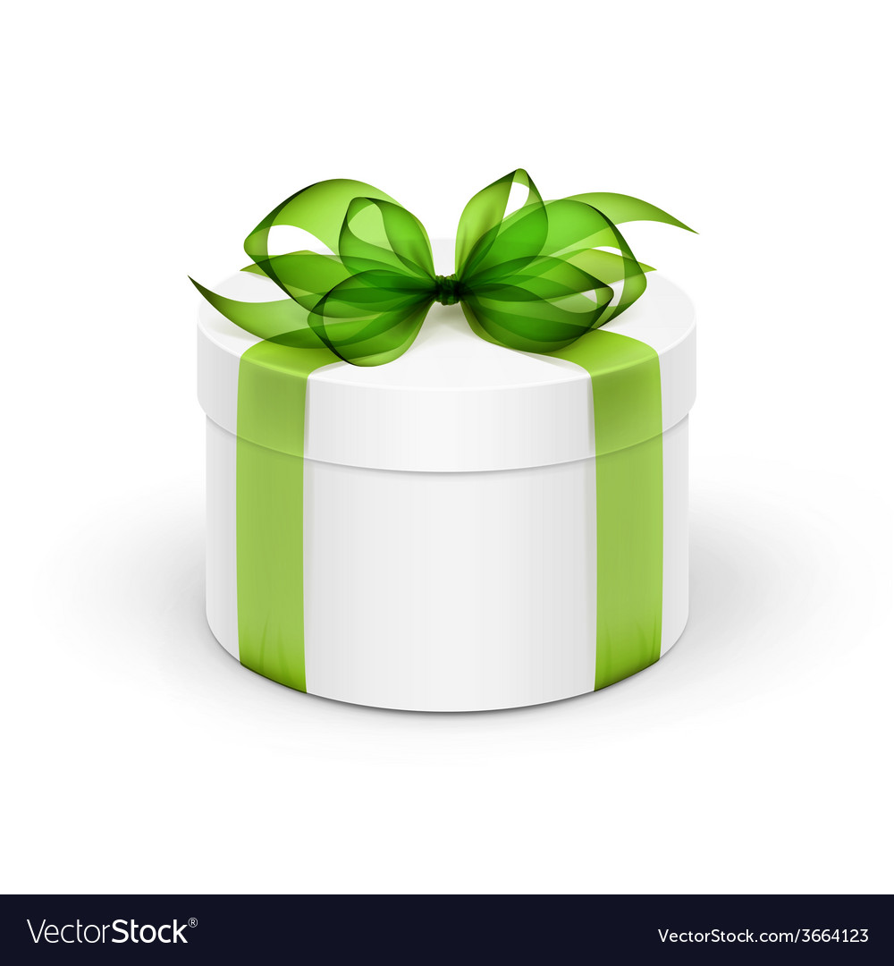White round gift box with light green ribbon and vector | Price: 1 Credit (USD $1)