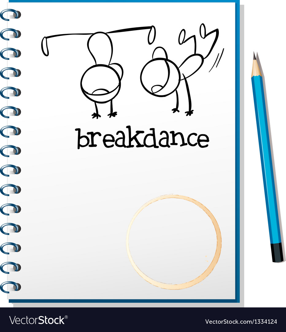 A notebook with a drawing of two boys breakdancing vector | Price: 1 Credit (USD $1)