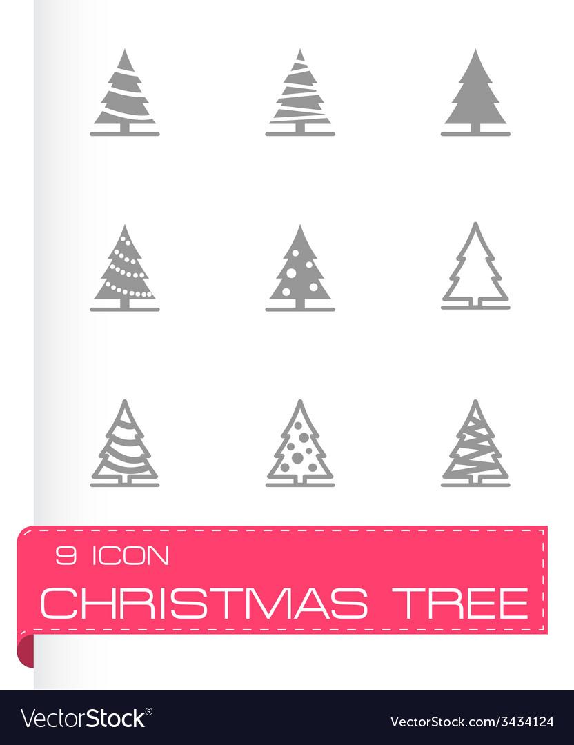Black christmas tree icon set vector   Price: 1 Credit (USD $1)