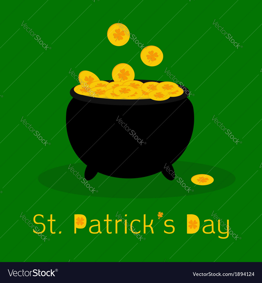 Black pot full of leprechauns gold coins vector | Price: 1 Credit (USD $1)