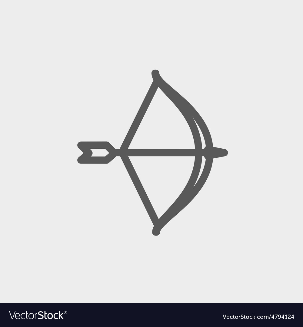 Bow and arrow thin line icon vector | Price: 1 Credit (USD $1)