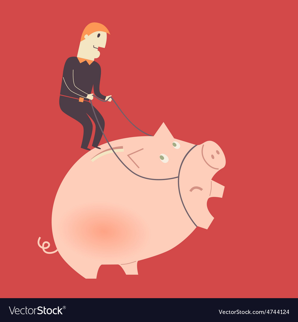 Businessman on a pig vector | Price: 1 Credit (USD $1)