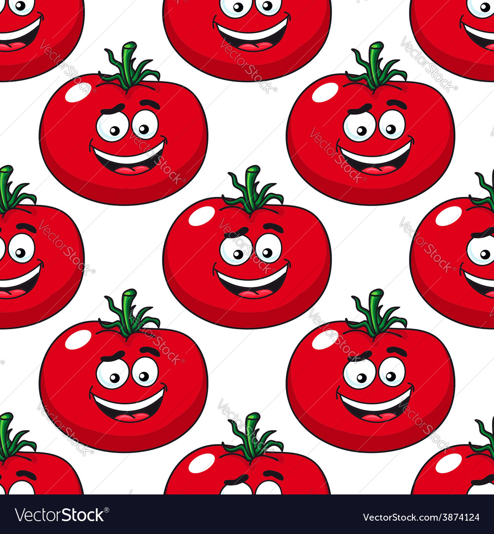 Cartoon smiling red tomatoes seamless pattern vector | Price: 1 Credit (USD $1)