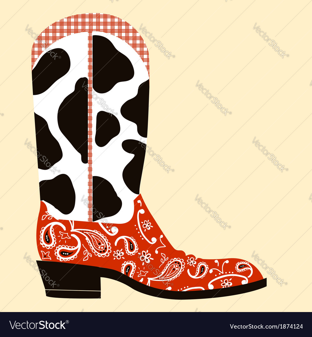 Cowboy boot decorationwestern symbol vector | Price: 1 Credit (USD $1)