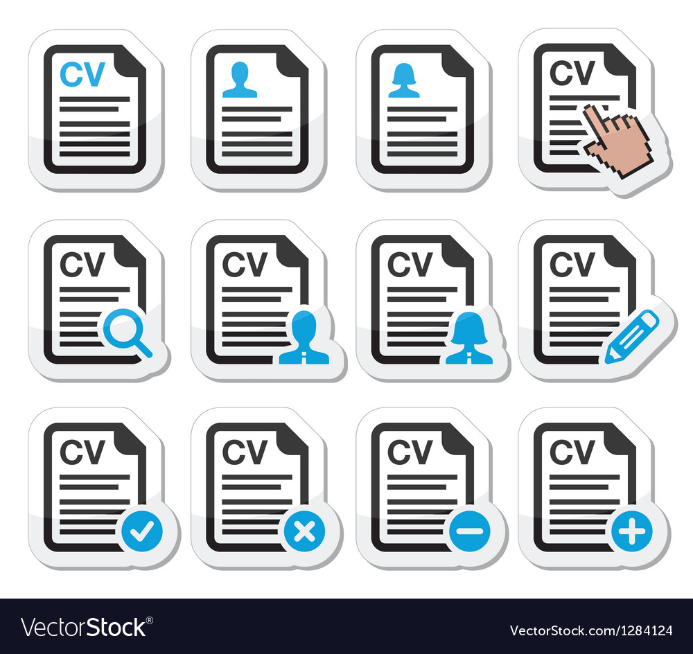 Cv - curriculum vitae resume icons set vector | Price: 1 Credit (USD $1)