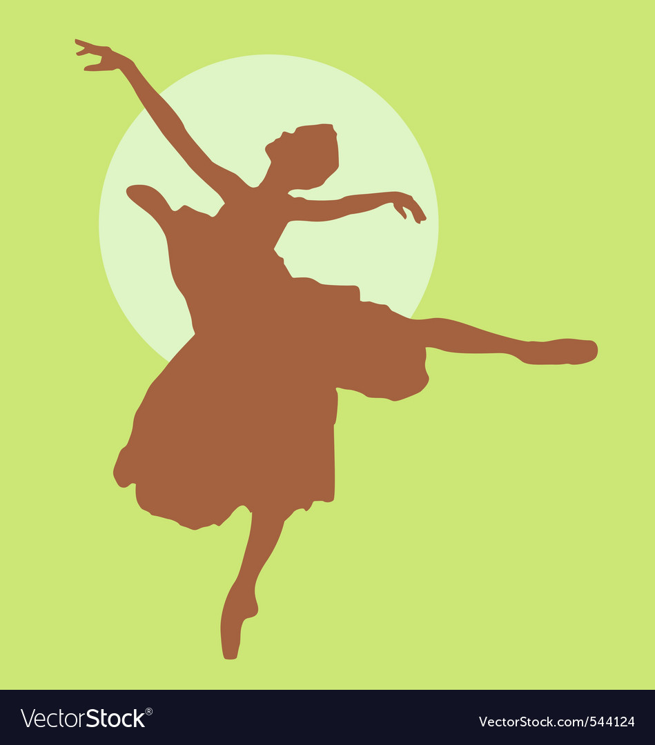 Dancing ballerina silhouette light brown on green vector | Price: 1 Credit (USD $1)
