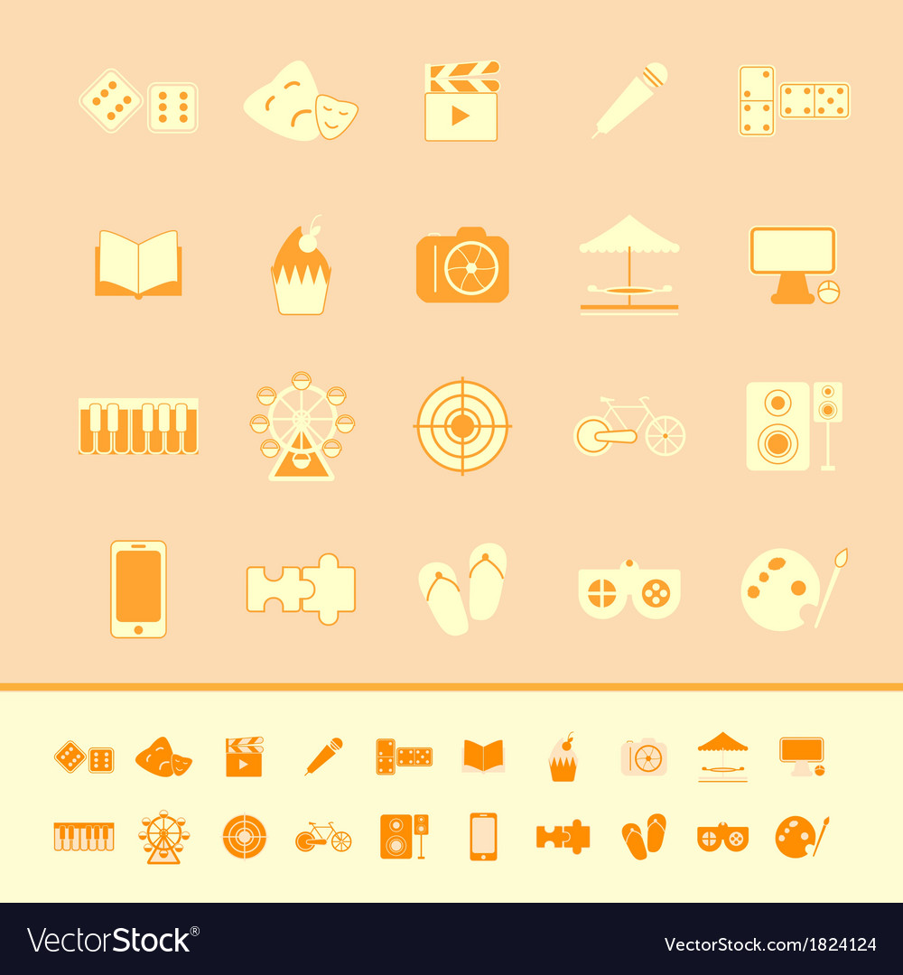 Entertainment color icons on orange background vector | Price: 1 Credit (USD $1)