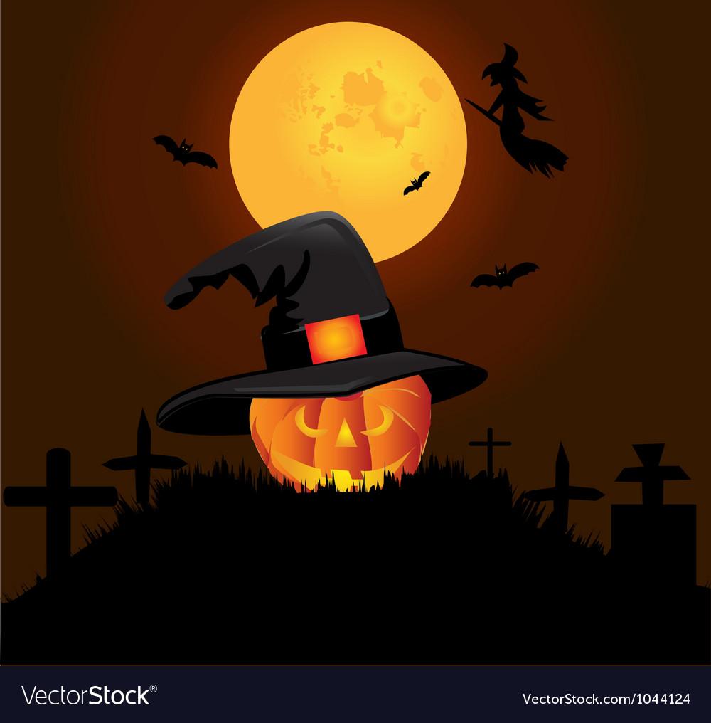 Halloween pumpkin graveyard background vector | Price: 1 Credit (USD $1)