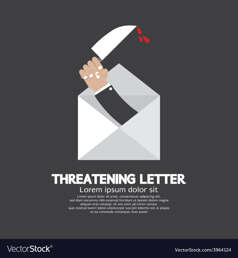 Hand with knife threatening letter concept vector | Price: 1 Credit (USD $1)