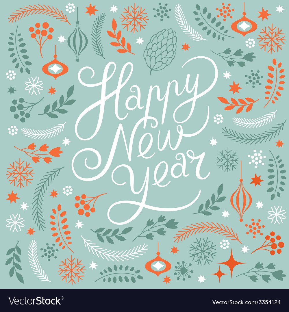 Happy new years lettering vector | Price: 1 Credit (USD $1)