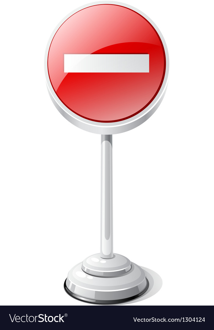No entry road traffic sign isolated on white vector | Price: 1 Credit (USD $1)
