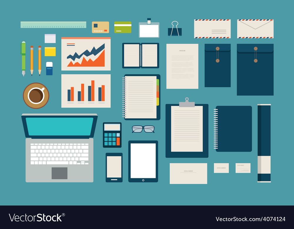 Set of mock up business template office tool vector | Price: 1 Credit (USD $1)