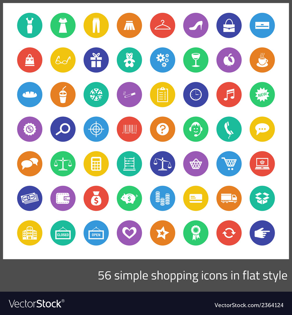 Simple 56 shopping icons in flat style vector | Price: 1 Credit (USD $1)