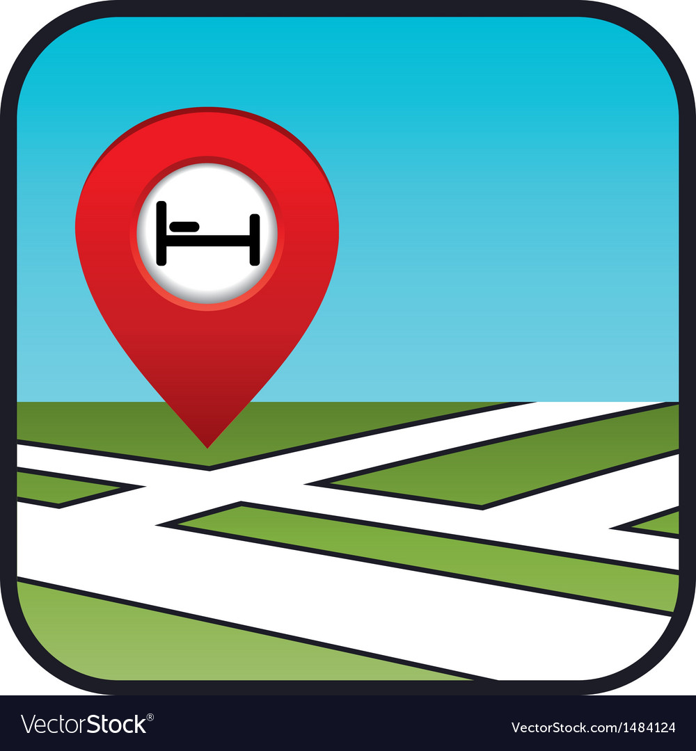 Street map icon with the pointer hotel vector | Price: 1 Credit (USD $1)