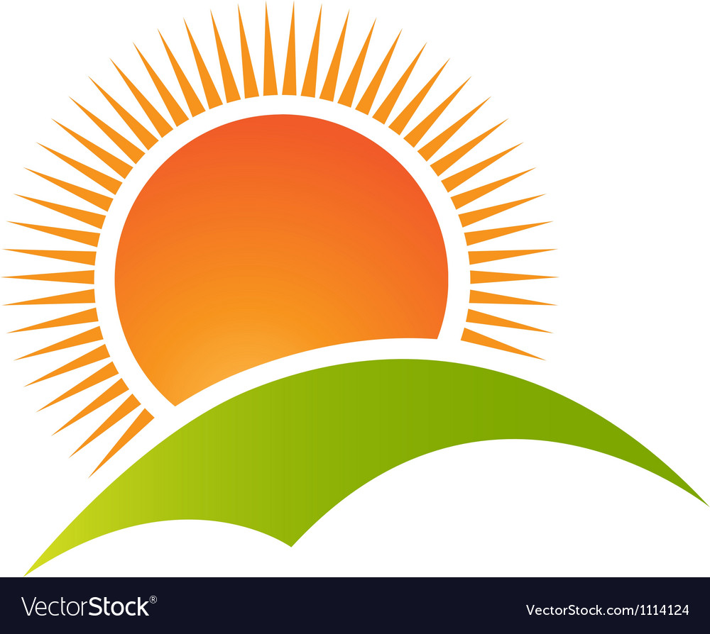Sun over hills vector | Price: 1 Credit (USD $1)