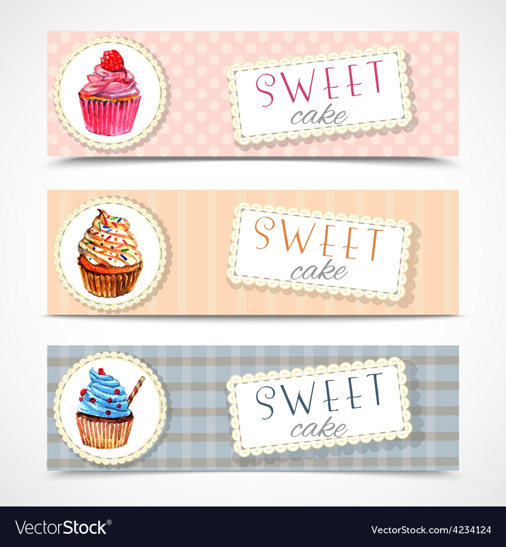 Sweetshop cupcakes banners set vector | Price: 1 Credit (USD $1)