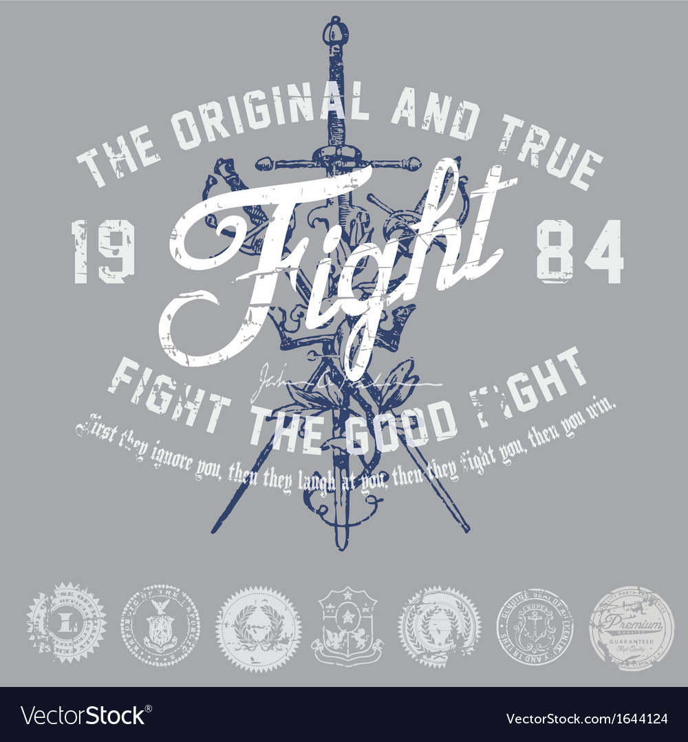 Vintage fight graphic vector | Price: 1 Credit (USD $1)
