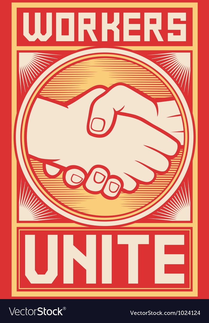 Workers unite poster vector | Price: 1 Credit (USD $1)
