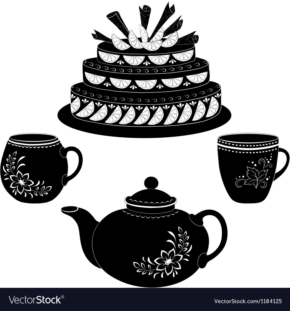 Cake teapot and cups contours vector | Price: 1 Credit (USD $1)