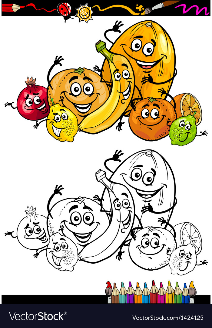 Cartoon citrus fruits for coloring book vector | Price: 3 Credit (USD $3)