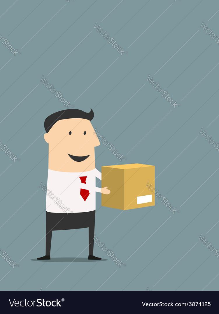 Cartooned flat businessman holding carton box vector | Price: 1 Credit (USD $1)