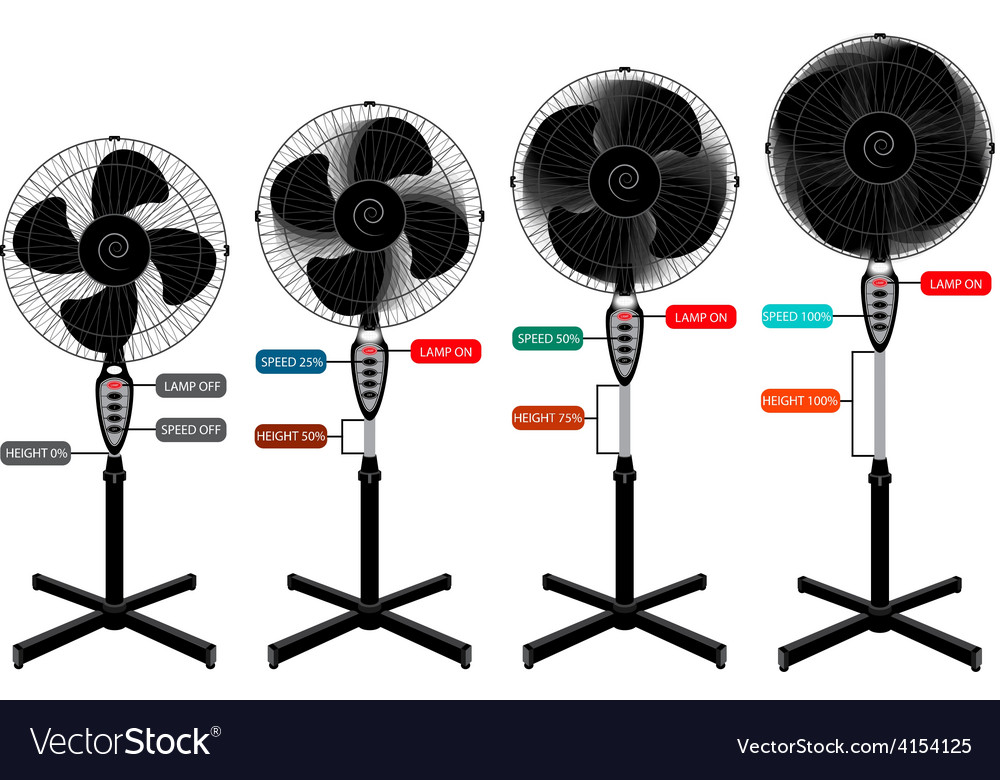 Electric fan set for infographics and design vector | Price: 1 Credit (USD $1)
