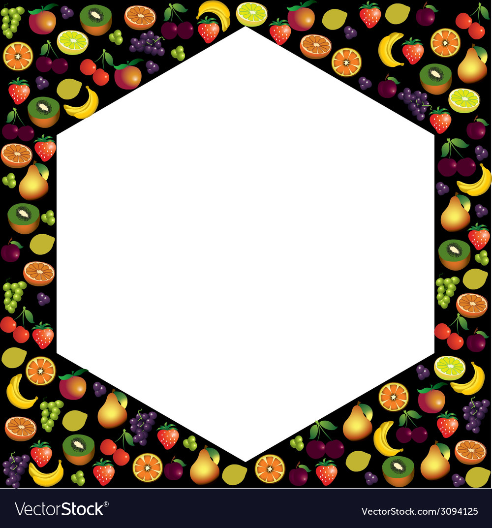 Fruits frame made with different fruits over dark vector   Price: 1 Credit (USD $1)