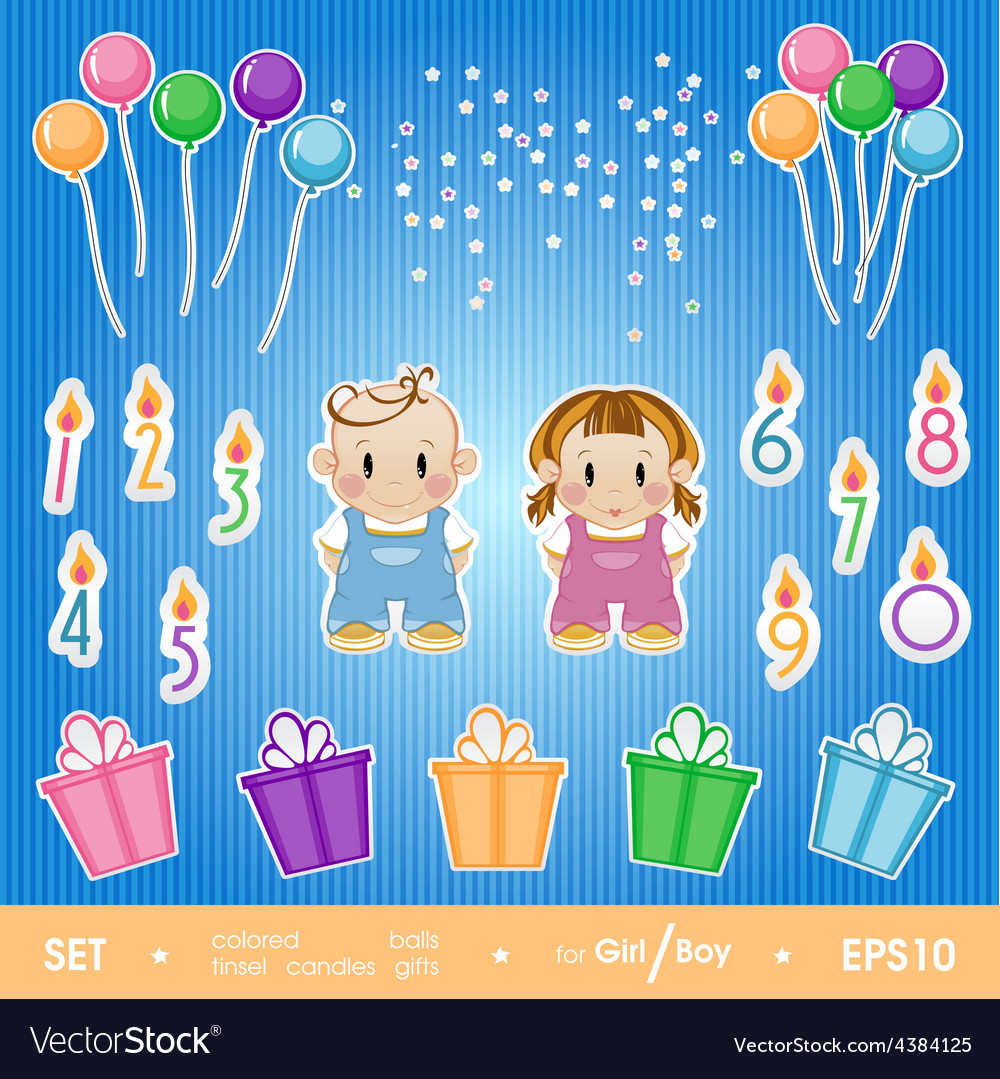 Gala set for birthday party for girl and boy a vector | Price: 1 Credit (USD $1)