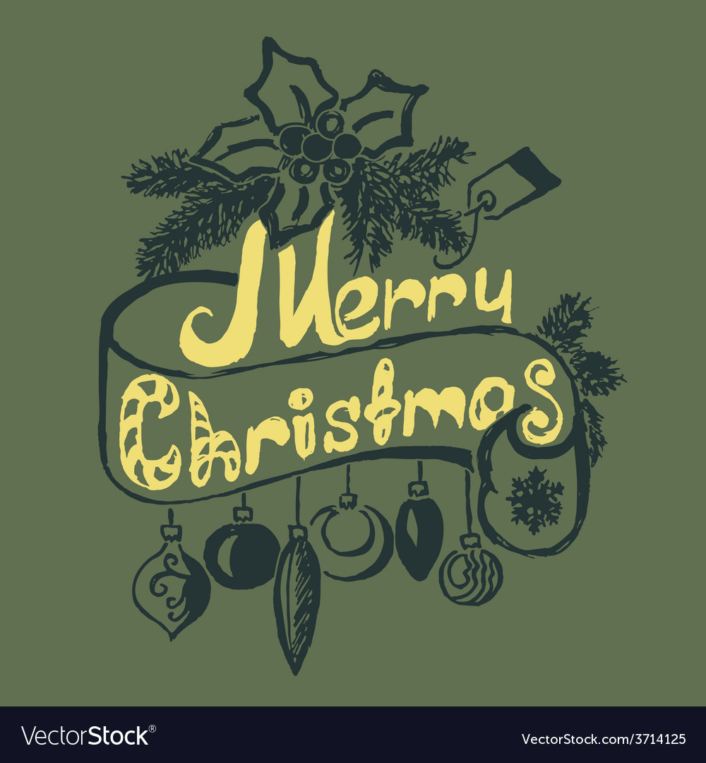 Hand drawn merry christmas decoration of vector | Price: 1 Credit (USD $1)