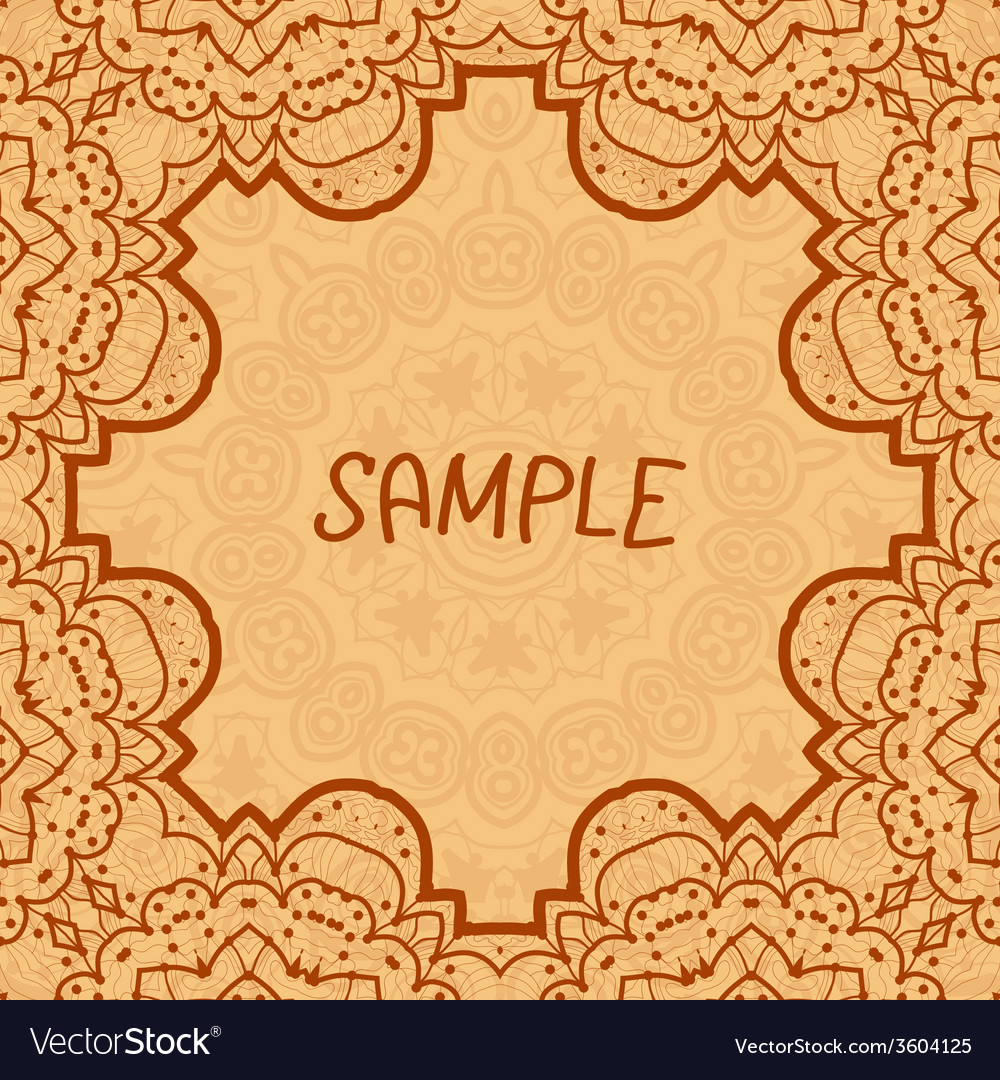 Ornamental frame delicate floral pattern square vector | Price: 1 Credit (USD $1)