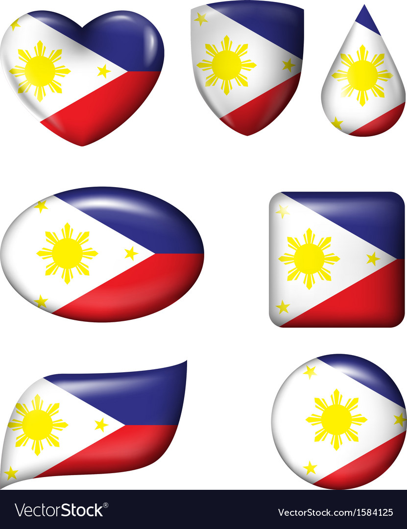 Philippines flag in various shape glossy button vector | Price: 1 Credit (USD $1)
