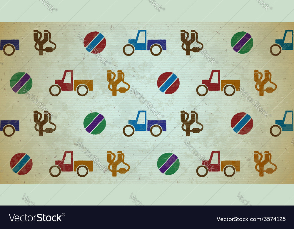 Seamless aged pattern with toys vector | Price: 1 Credit (USD $1)
