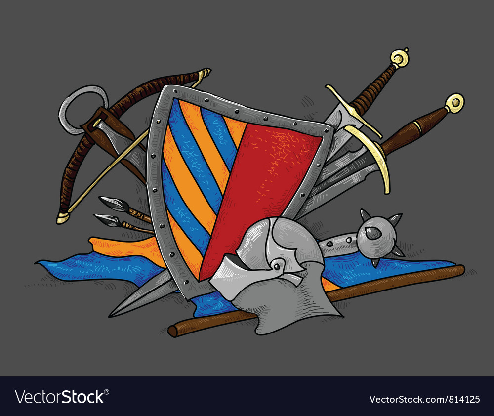 Shield medieval hand drawing vector | Price: 1 Credit (USD $1)