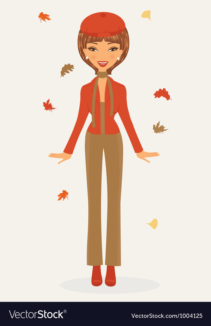 Stylish woman in autumn vector | Price: 1 Credit (USD $1)