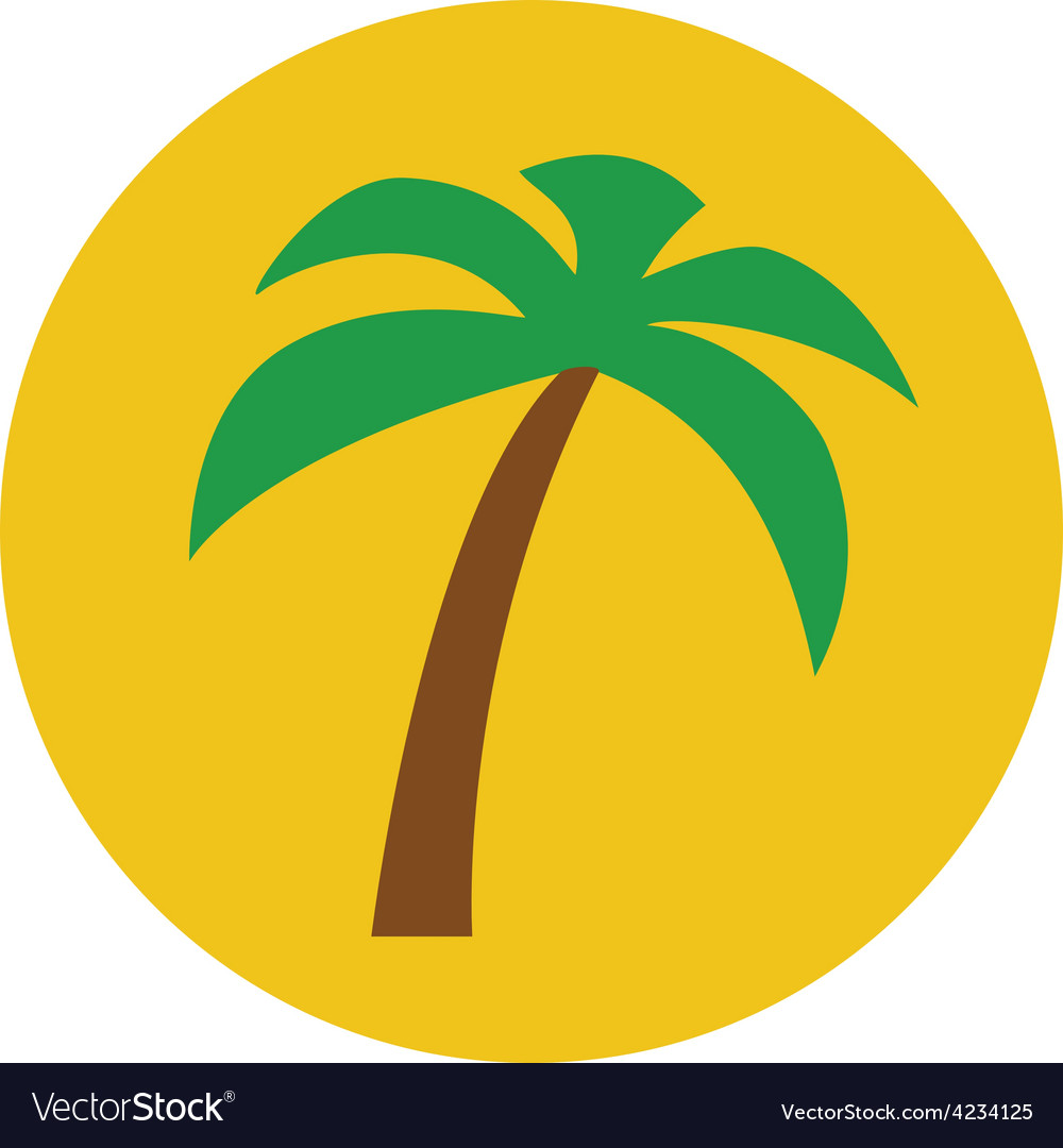 Sunny palm tree flat icon vector | Price: 1 Credit (USD $1)