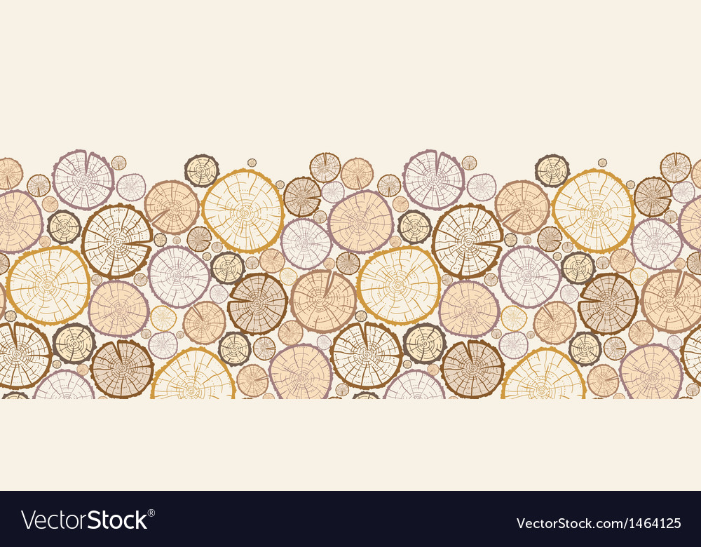 Wood log cuts horizontal seamless pattern vector | Price: 1 Credit (USD $1)