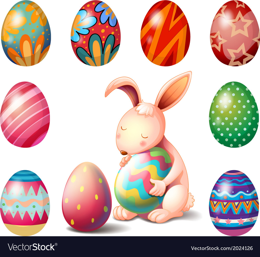 A bunny surrounded with easter eggs vector | Price: 1 Credit (USD $1)
