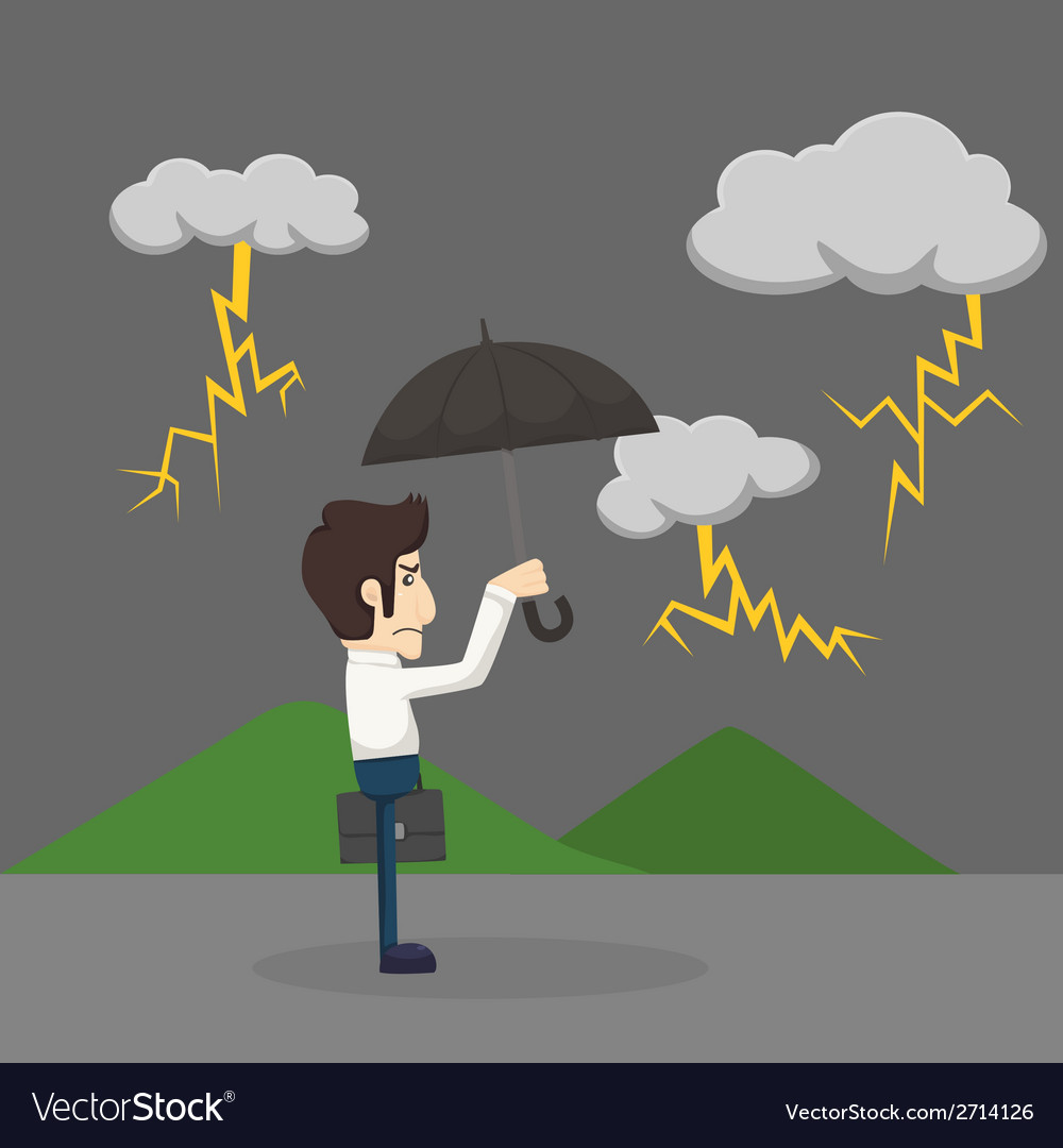 Businessman with umbrella standing in the rain vector | Price: 1 Credit (USD $1)